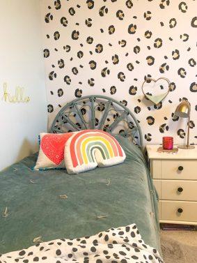 LEOPARD PRINT GIRLS BEDROOM WITH I LOVE WALLPAPER