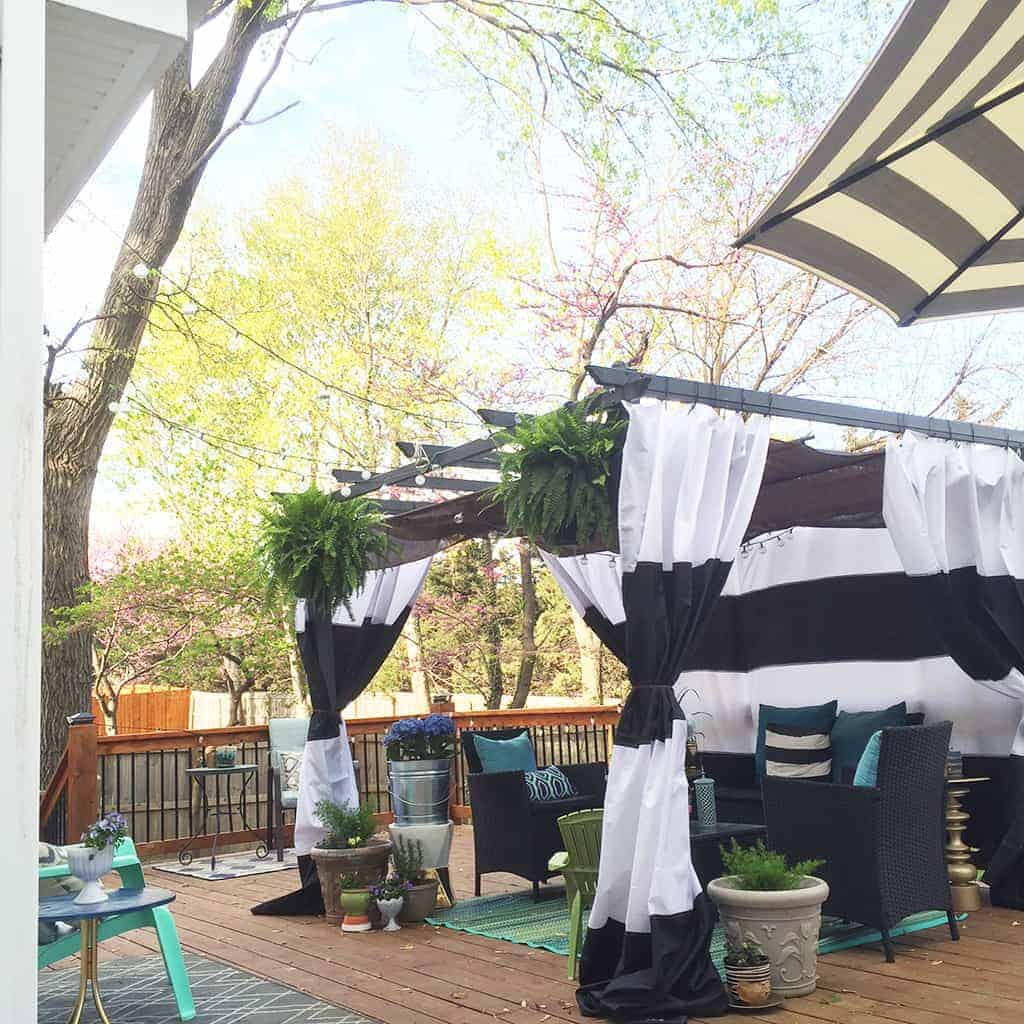 diy cabana updates black and white striped curtains