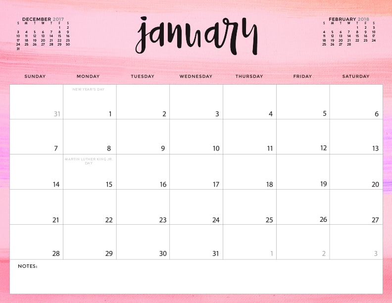 free 2018 downloadable calendar