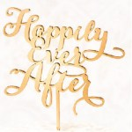 Happily Ever After Cake Topper in the color Gold