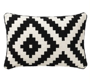 Black Patterned Pillow Cotton Textile