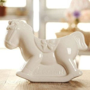 Ivory White color Ceramic Rocking Horse Planter