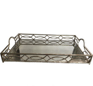 Silver Glass Serving Tray with mirrored bottom