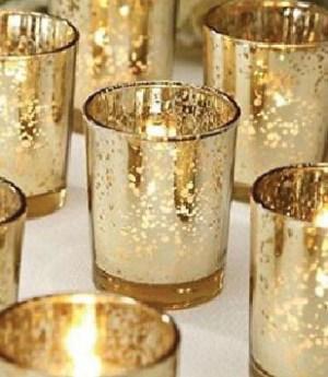 gold glass mercury candleholders