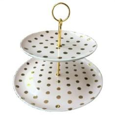 Light Pink Dessert Tray Gold Dots