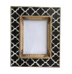 Black& White Tile Photo Frame Golden Rim