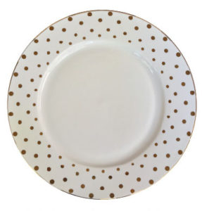 White and Gold Dots Dinner Plate