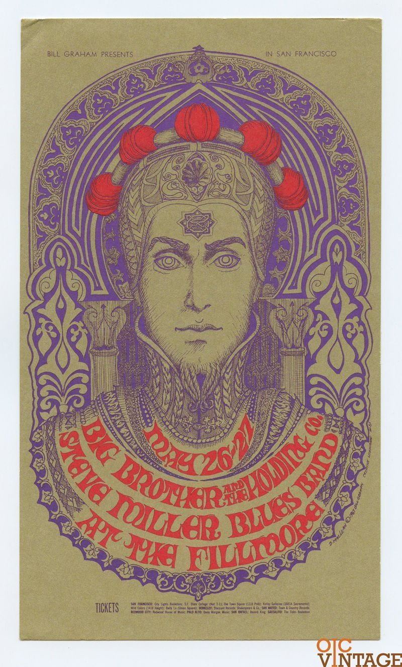 BG 65 Postcard Mailed Big Brother and the Holding Company 1967 May 26