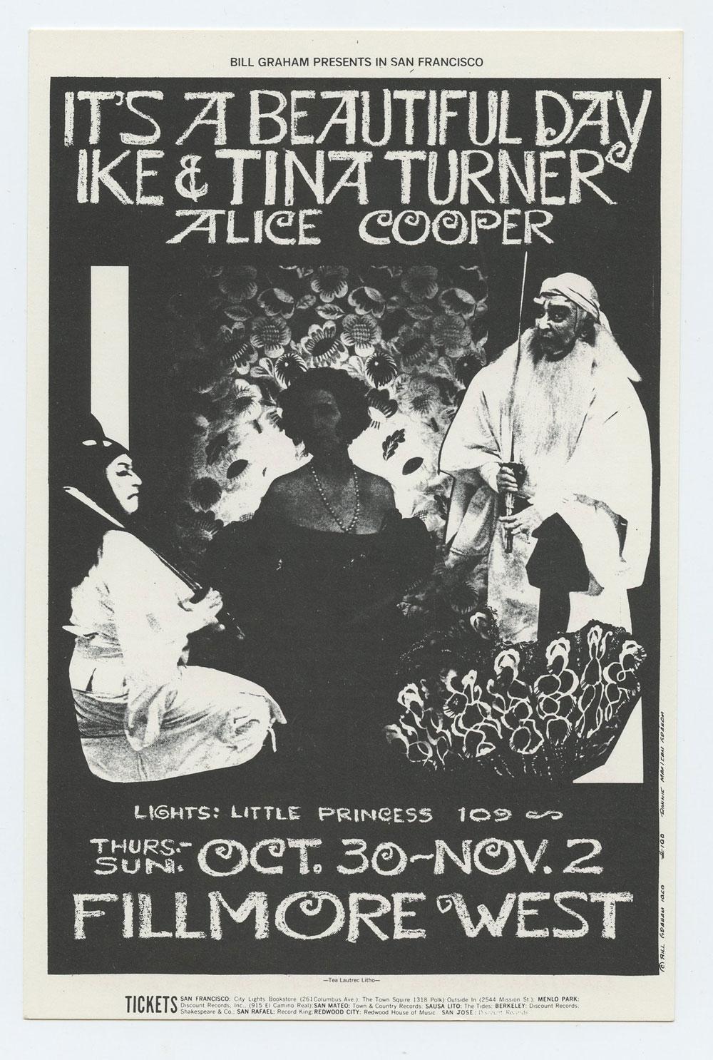 Bill Graham 198 Postcard Ad Back Tina Turner Alice Cooper 1969 Oct 30