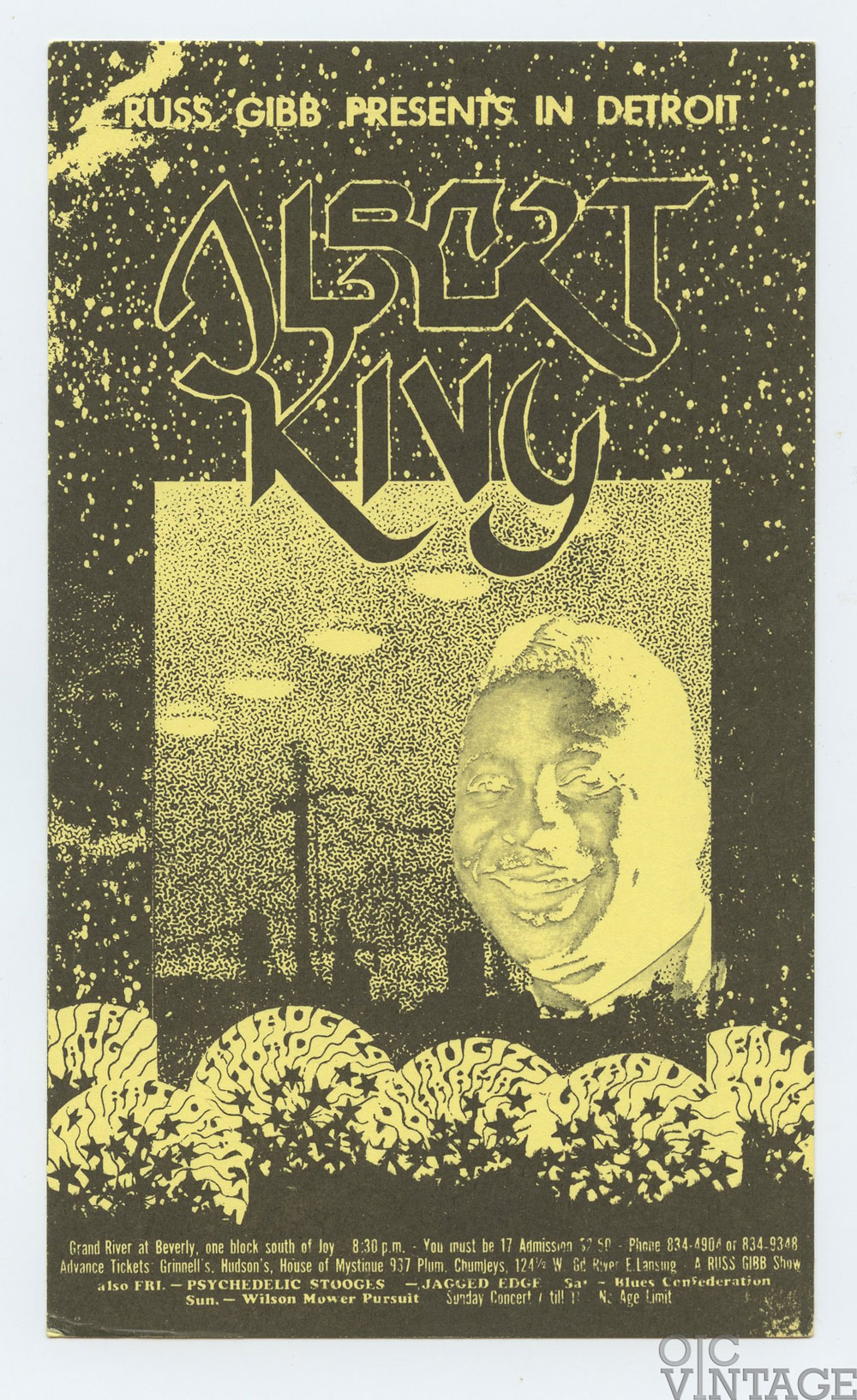 Grande Ballroom Postcard 1968 Aug 23 Albert King Jagged Edge