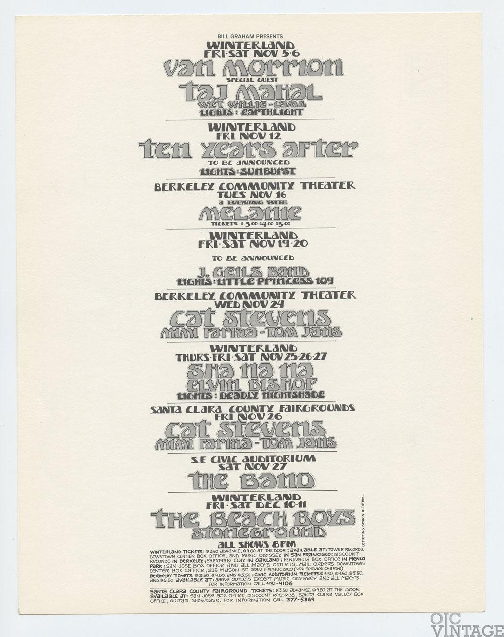 Bill Graham Presents Postcard 1971 Nov Dec Van Morrison Beach Boys Cat Stevens