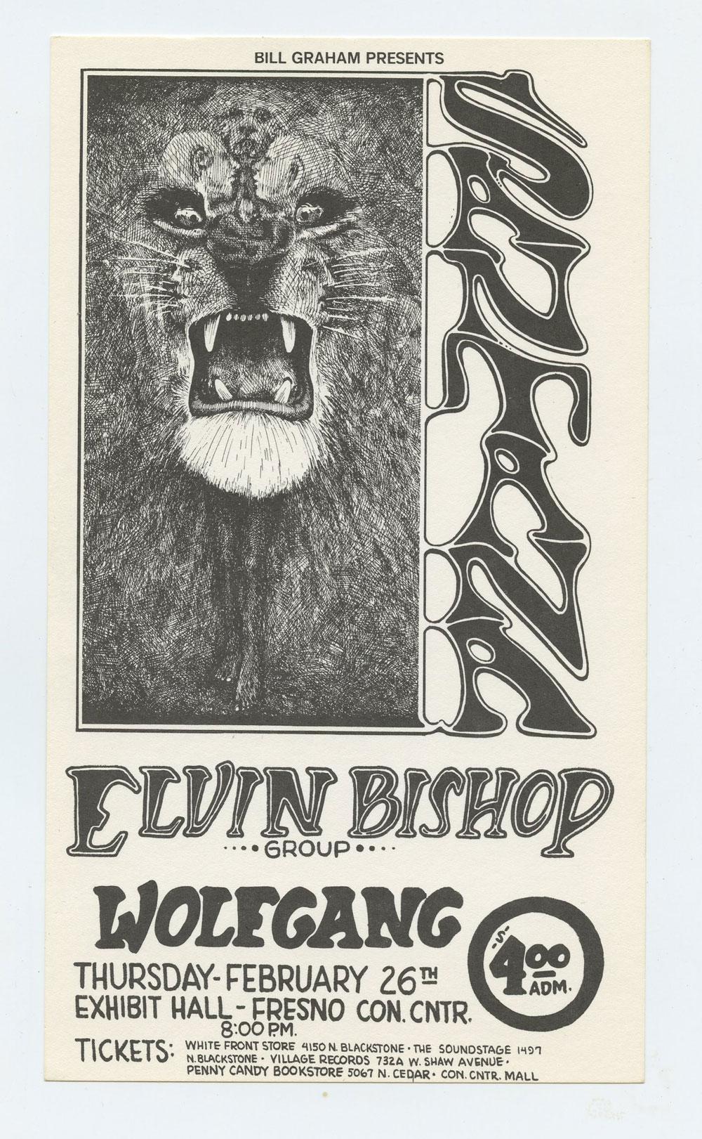 Bill Graham Presents Handbill 1970 Feb 26 Santana Elvin Bishop Fresno Exhibition Hall