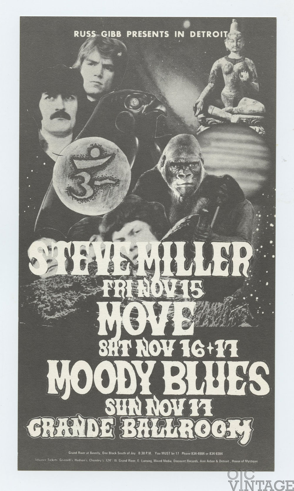 Grande Ballroom Postcard 1968 Nov 15 Steve Miller Move Moody Blues