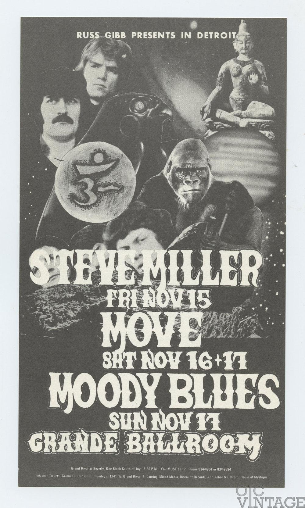 Grande Ballroom Postcard 1968 Nov 15 Steve Miller Move Moody Blues