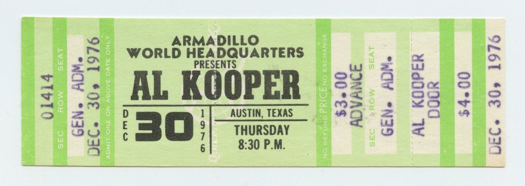 AL KOOPER Ticket 1976 Dec 30 Armadillo World Headquarters unused