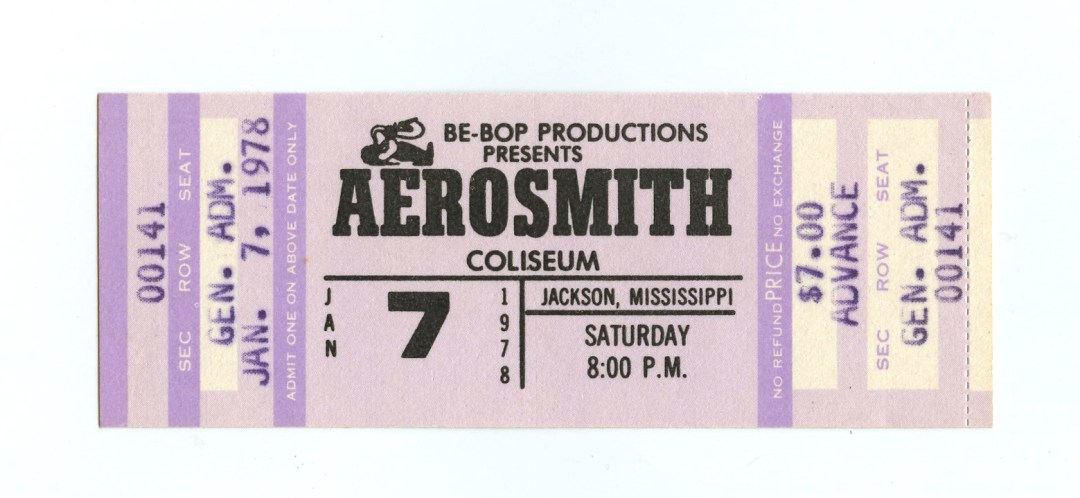 Aerosmith Ticket 1978 Jan 7 Jackson Coliseum Unused
