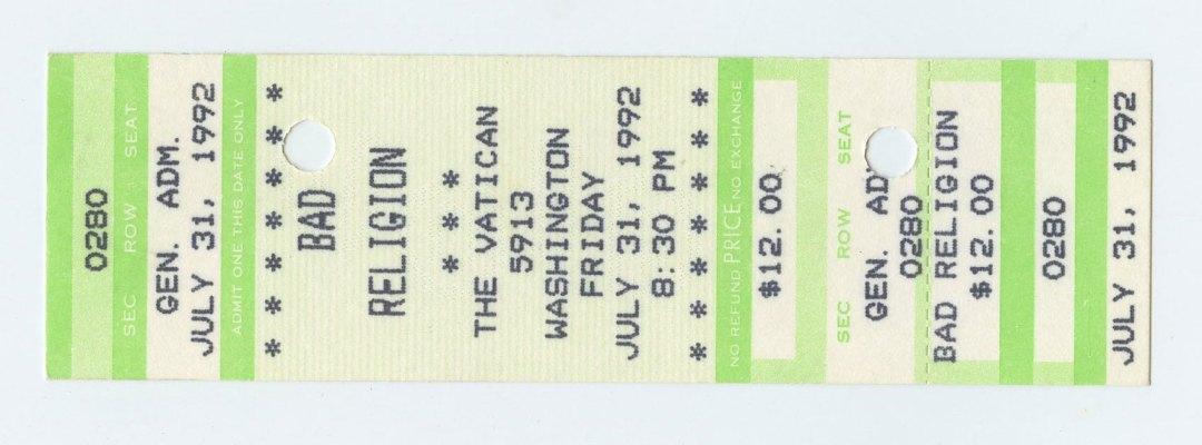 Bad Religion Ticket 1992 Jul 31 The Vatican Houston Unused