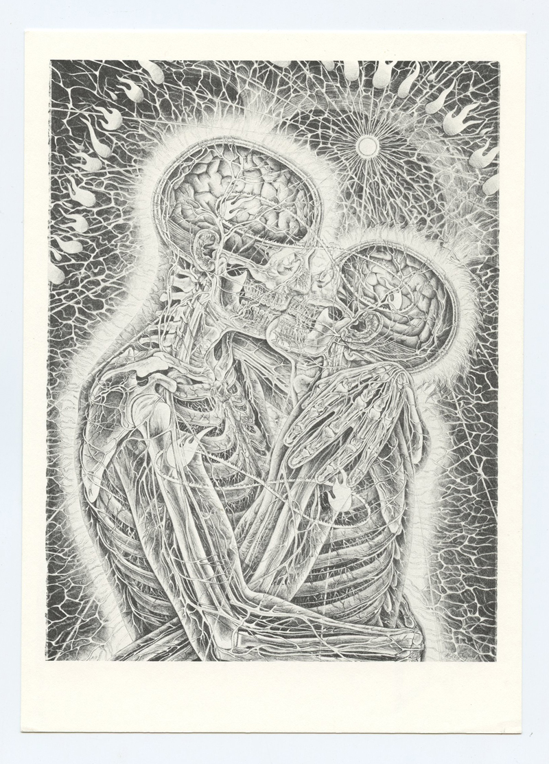Alex Gray Postcard 1989 KISSING