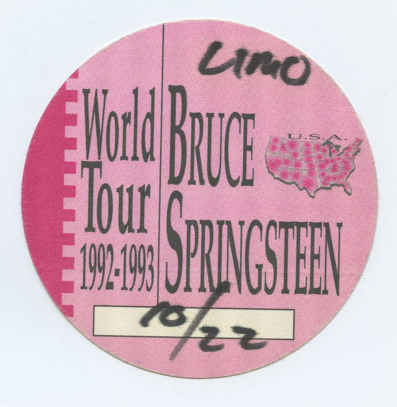 Bruce Springsteen Backstage pass World Tour 1992 -1993