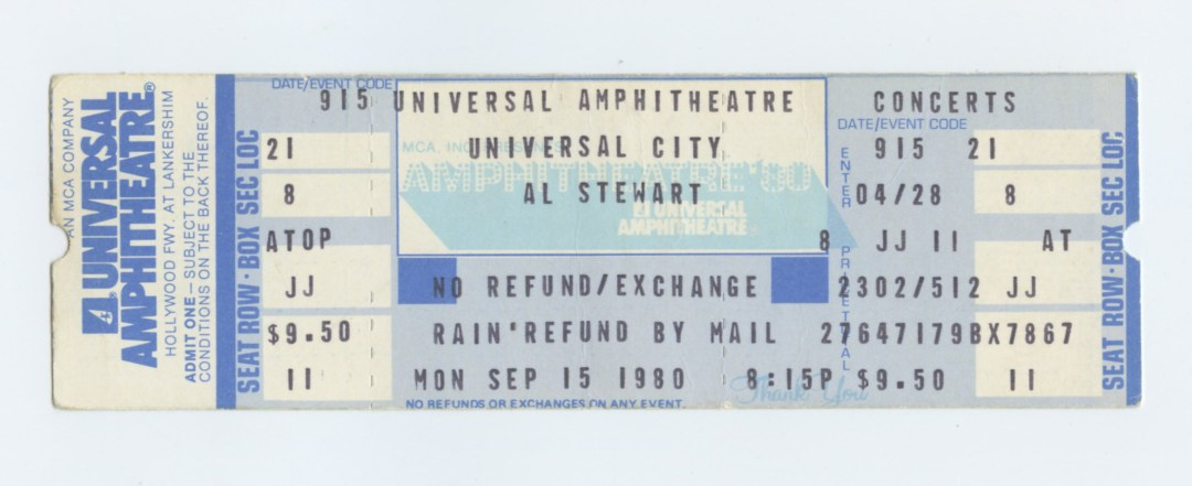 Al Stewart Ticket 1980 Sep 15 Universal Amphitheatre Unused