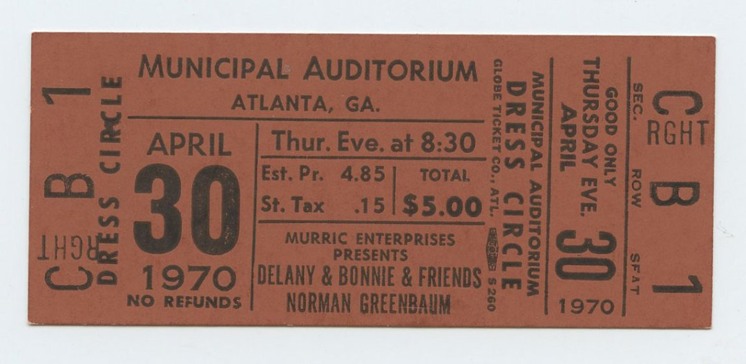 Delany and Bonnie Ticket W/ Norman Greenbaum Ticket 1970 Apr 30 Atlanta