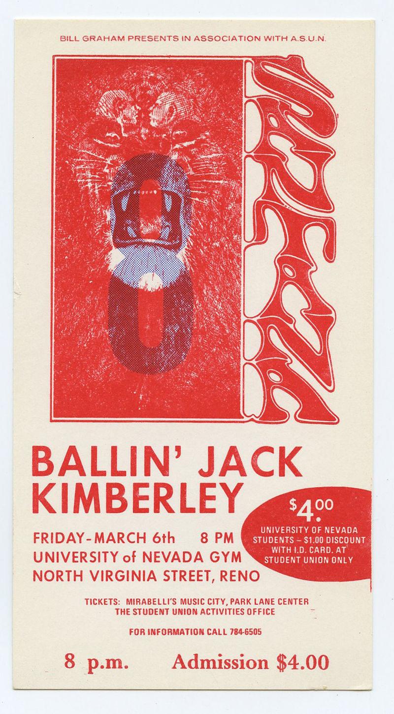 Santana Ticket 1970 Mar 6 University of Nevada Unused Lee Conklin