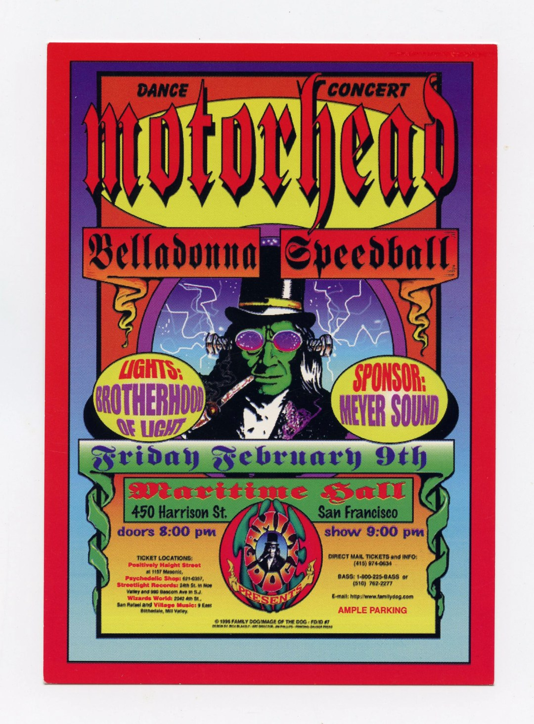 Maritime Hall Handbill 1995 Feb 9 Motorhead Bellasonna Speedball MHP 007