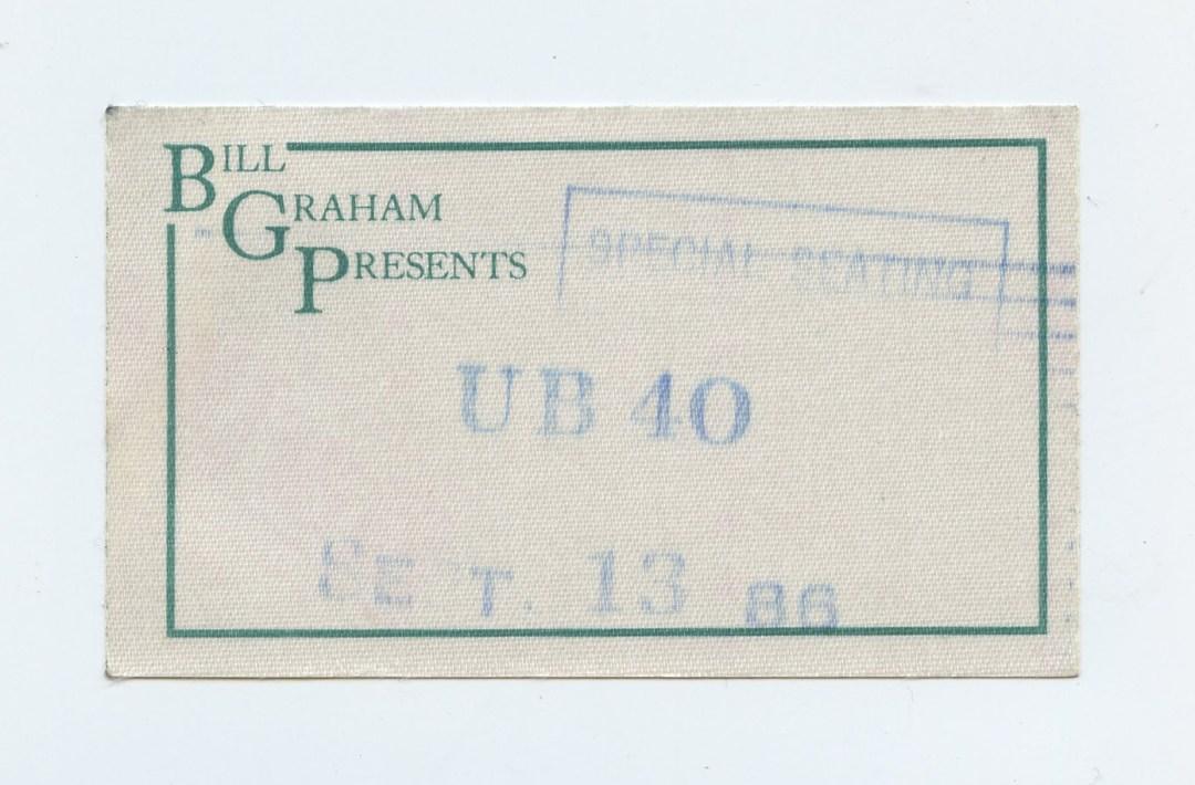 UB40 Backstage pass Bill Graham Presents 1986 Sep 13 Greek Theatre Berkeley