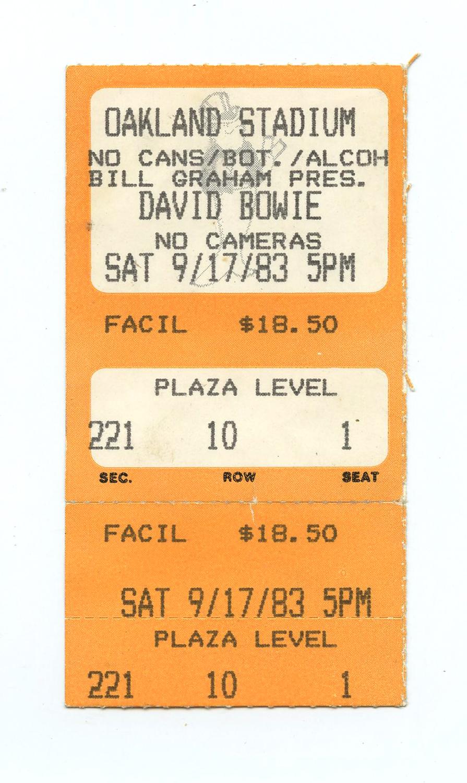 David Bowie Ticket Stub Serious Moonlight Tour 1983 September 17 Oakland Stadium