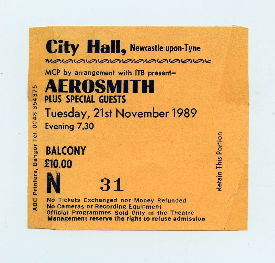 Aerosmith Ticket Stub 1989 Nov 21 City Hall Newcastle UK