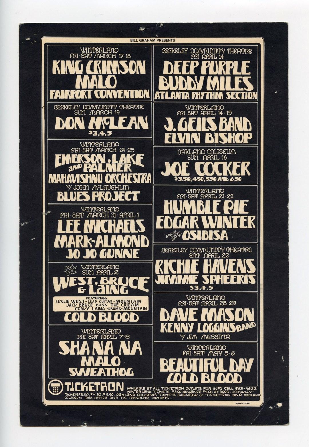Bill Graham Presents Postcard Mailed 1972 Mar thru May Joe Cocker Deep Purple