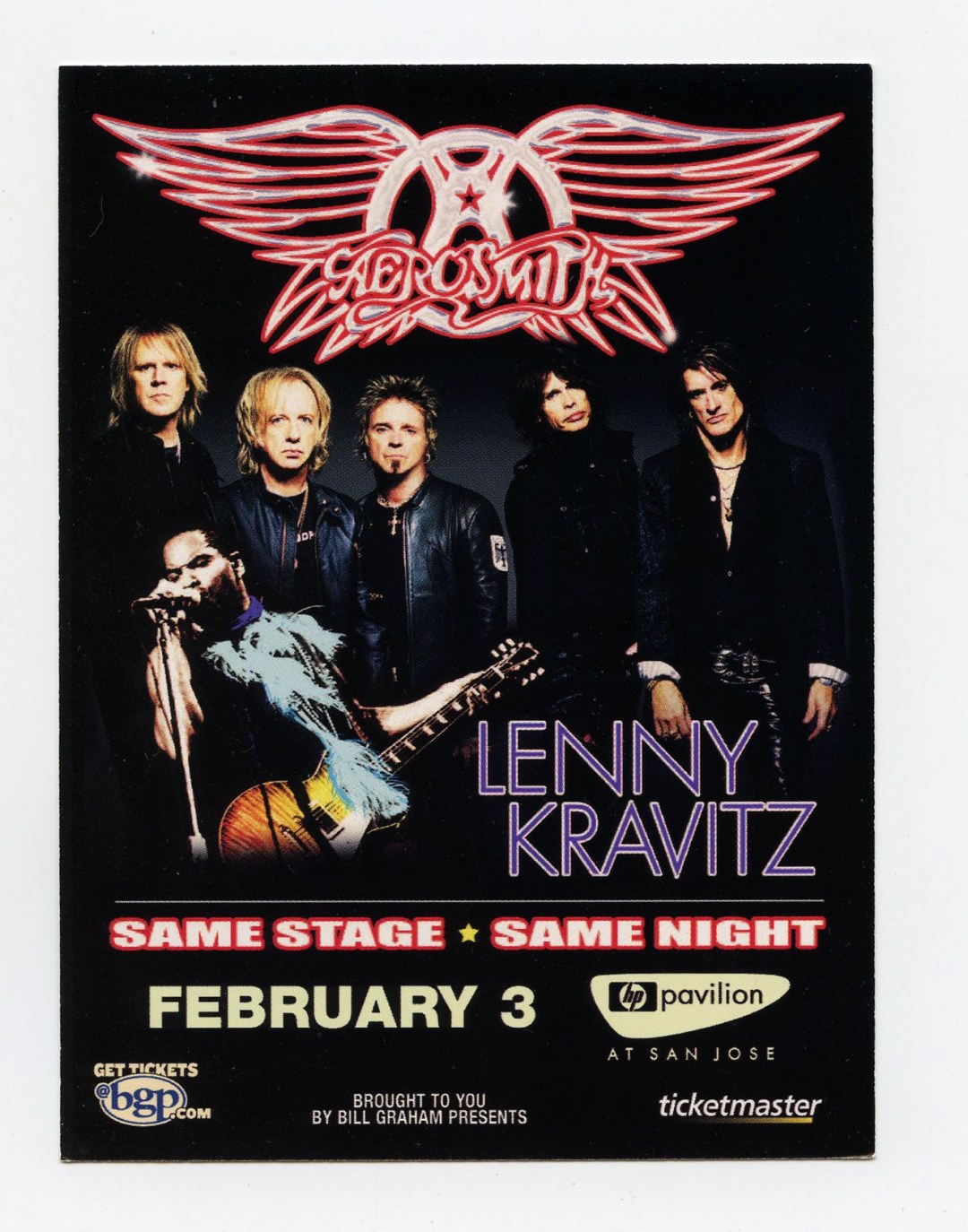 Aerosmith Handbill 2006 Feb 8 San Jose Oakland 2 sided 2 5/8 x 4 15/16
