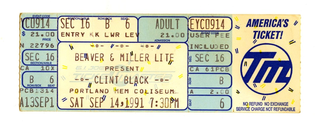 Clint Black Ticket 1991 Sep 14 Portland Memorial Coliseum Unused