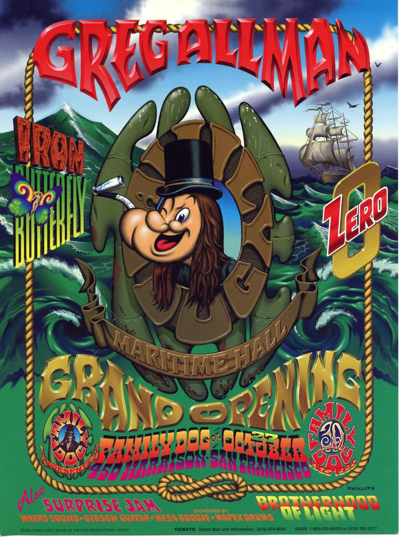 Maritime Hall Grand Opening Handbill 1995 Oct 7 Gregg Allman Iron Butterfly Zero