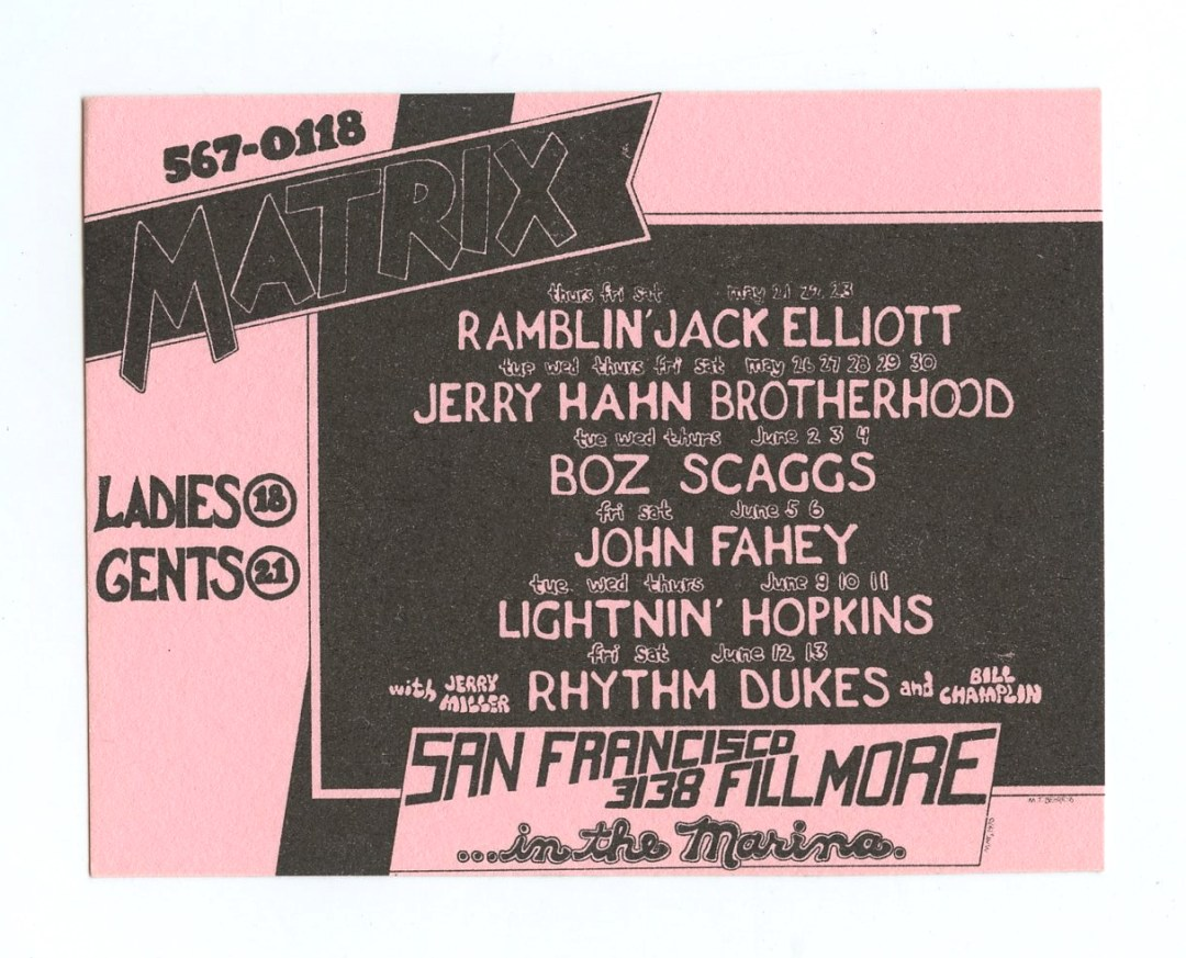 Matrix Handbill small 1970 May Boz Scaggs Mark Behrens