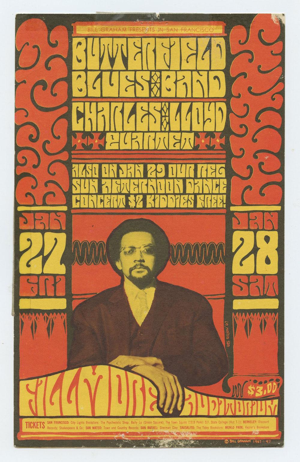 BG 47 Postcard Butterfield Blues band 1967 Jan 27
