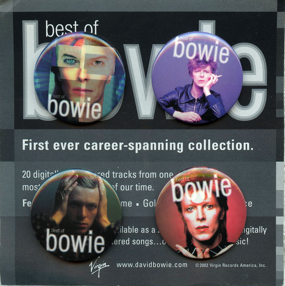 David Bowie Button First Ever Career Spanning Collection Set of 4 Vergin Records