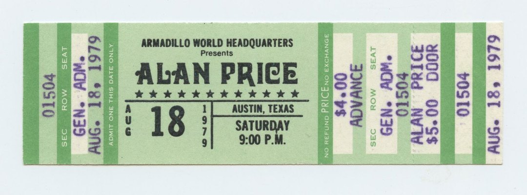 Alan Price Ticket 1979 August 18 Austin TX Unused