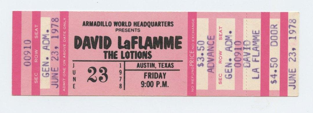 David La Flame Ticket 1978 Jun 23 Armadillo World Headquaters Austin TX Unused