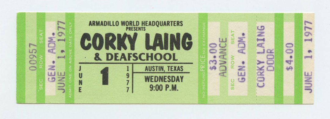Corky Laing Ticket  1977 Jun 1 Austin TX Unused w/ Deafschool
