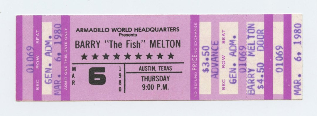 Barry The Fish Melton Ticket 1980 March 6 Austin TX Unused
