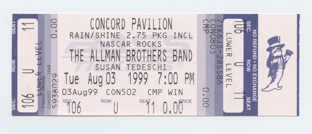 Allman Brothers Band Ticket 1999 Aug 3 Concord Pavilion Unused