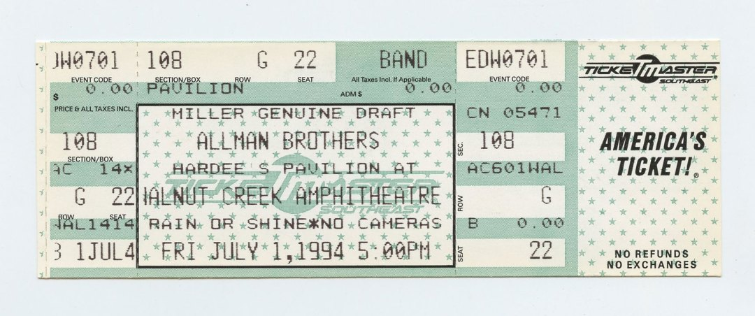 Allman Brothers Band Ticket 1994 Jul 1 Walnut Creek Amphitheatre Unused