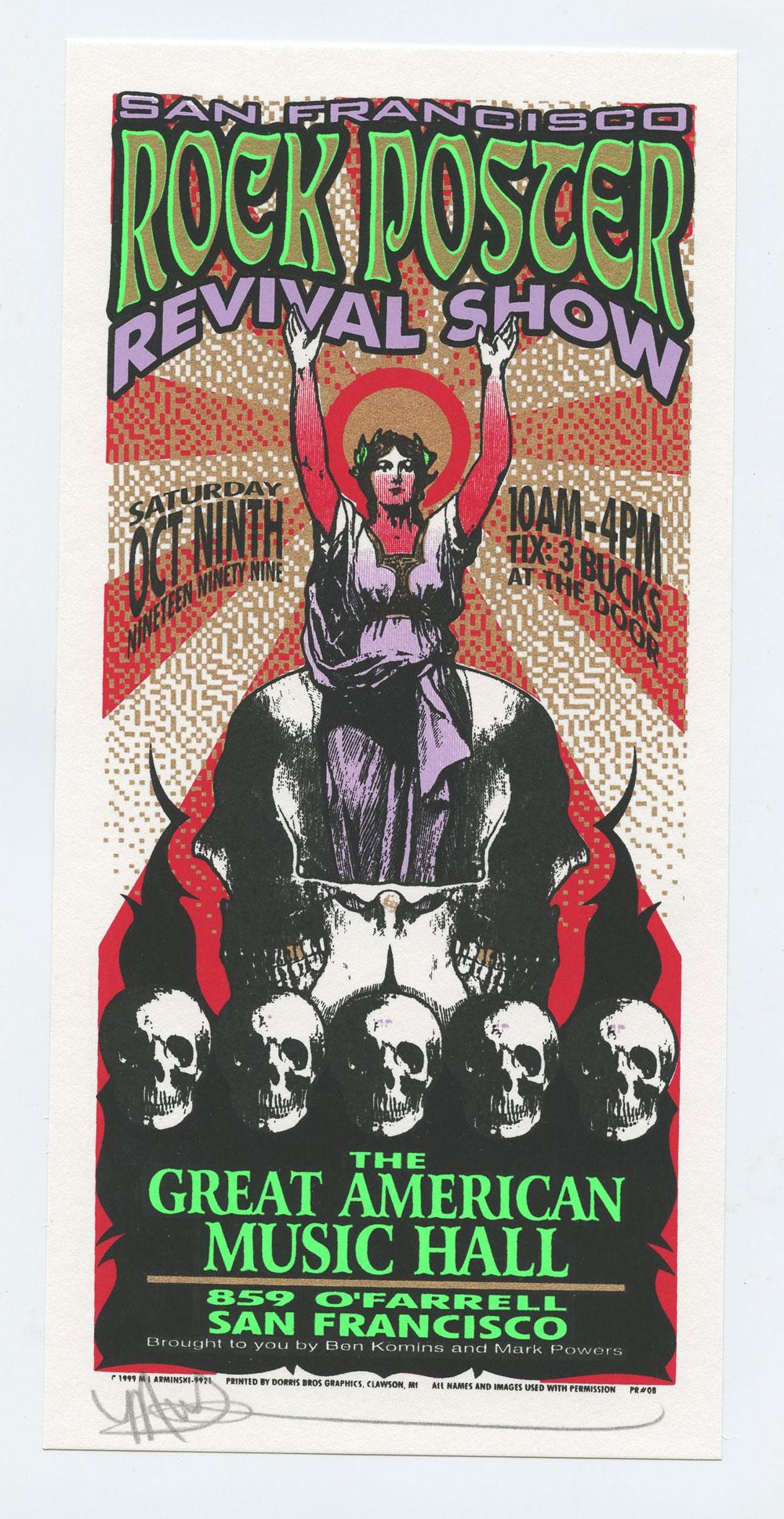 Rock Poster Revival Show 1999 Oct 9 San Francisco Handbill Mark Arminski signed