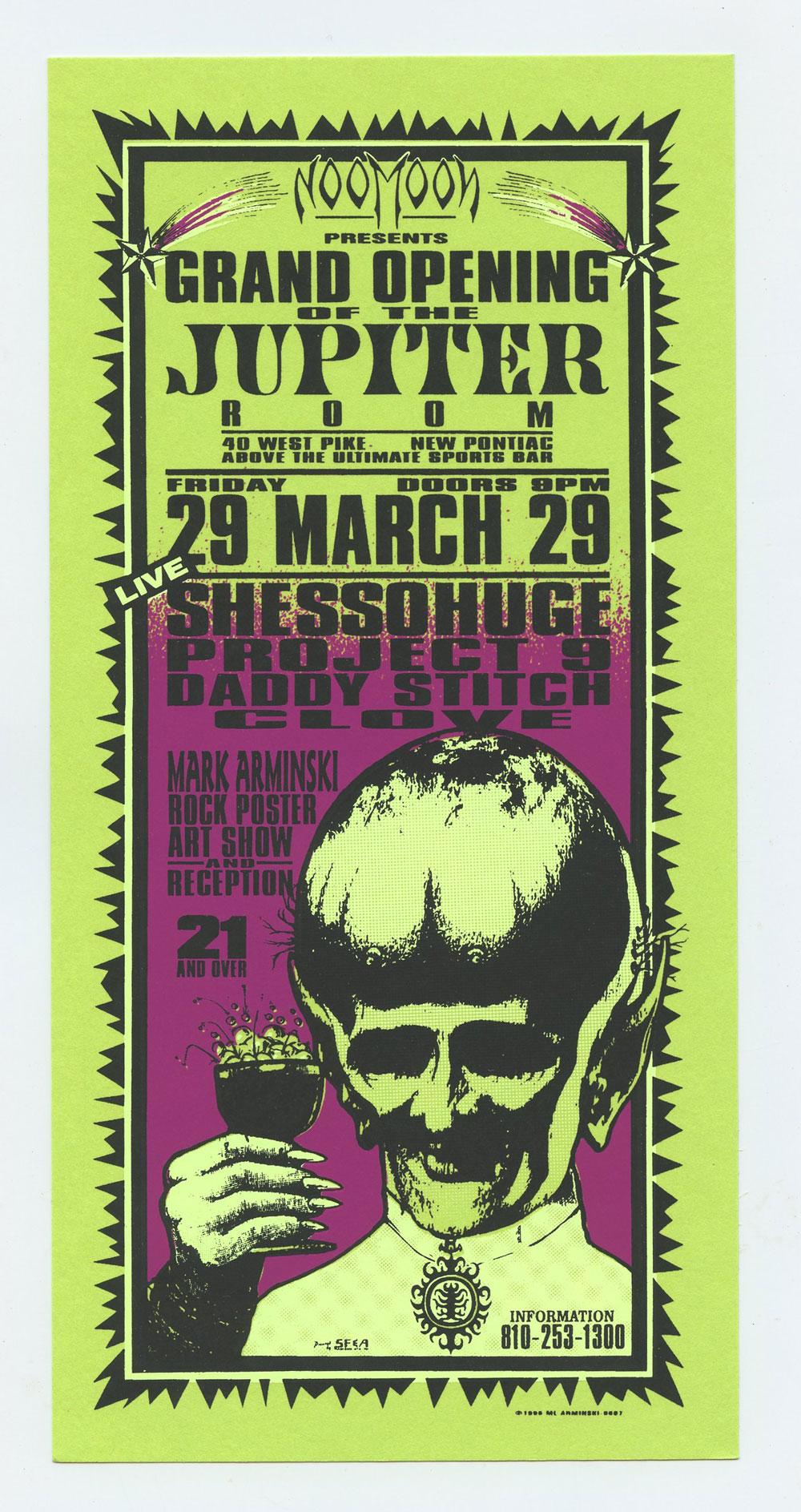 Grand Opening Jupiter Room Rock Poster Show1996 Mar 29 Handbill Mark Arminski