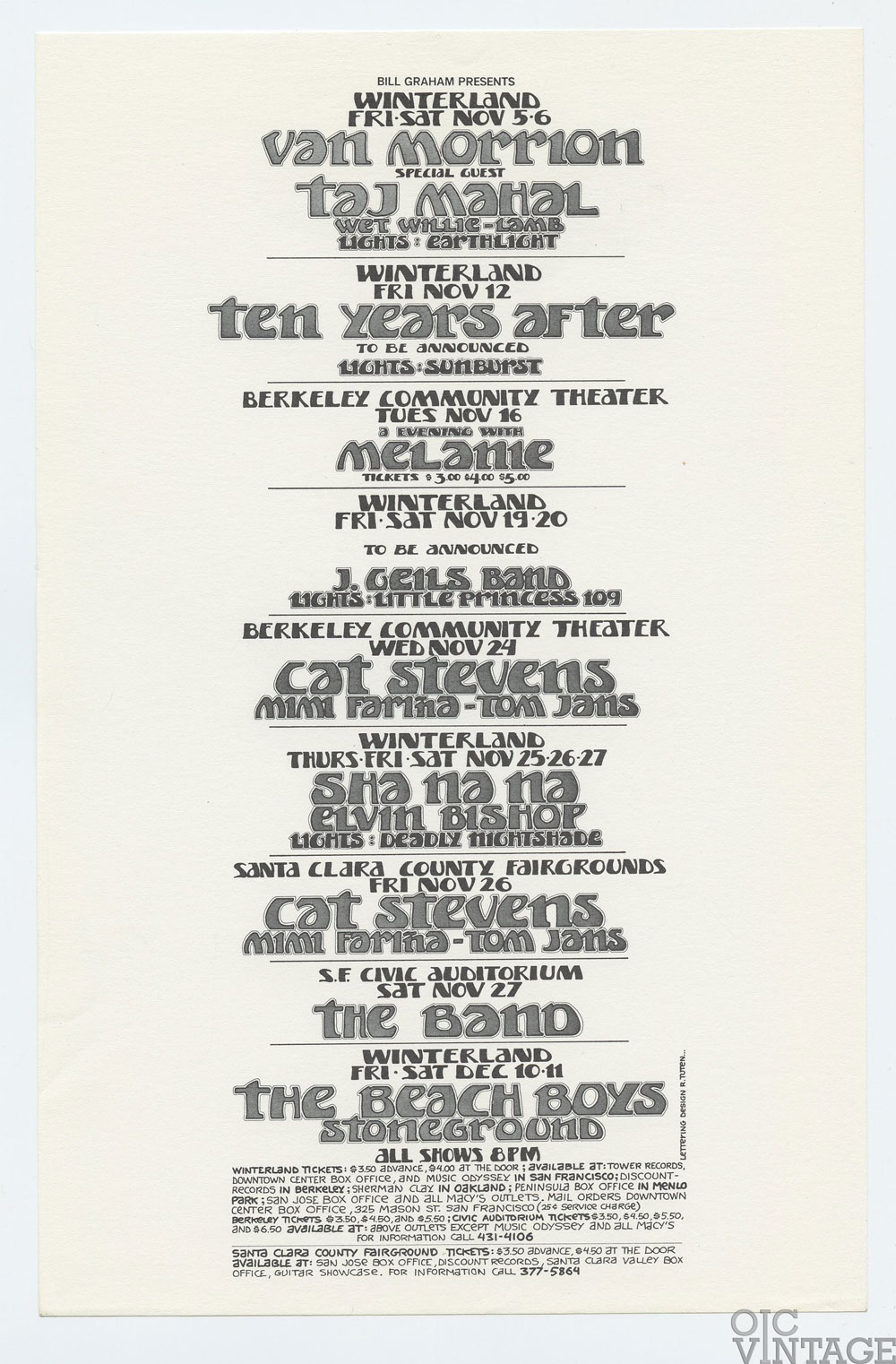 Bill Graham Presents Flyer 1971 Nov Dec Van Morrison Beach Boys Cat Stevens
