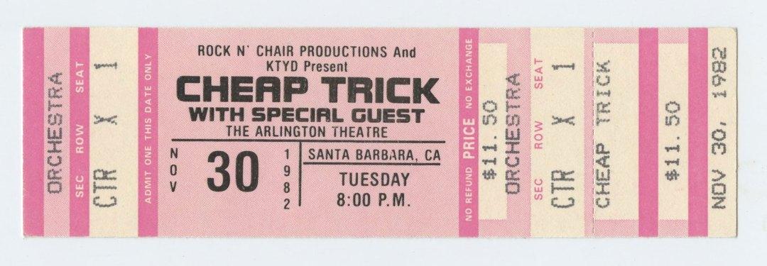 Cheap Trick Ticket 1982 Nov 30 Santa Barbara Unused