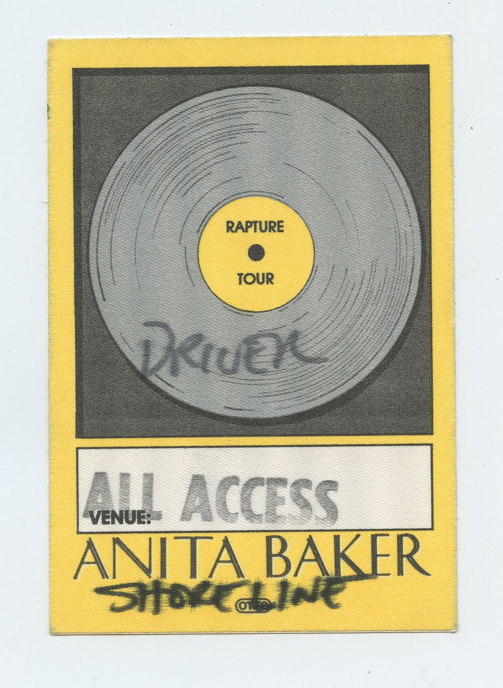 Anita Baker 1986 Rapture Tour Backstage Pass