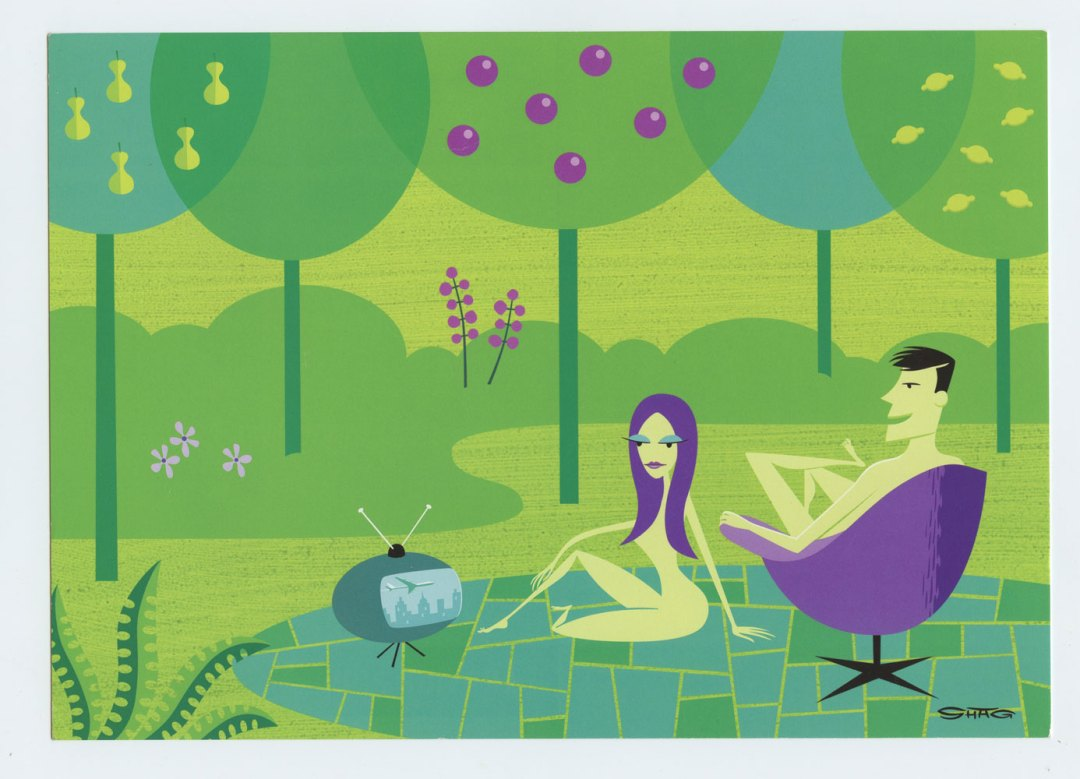Josh Agle Postcard Before The Eviction Scenes From The Garden Of Eden