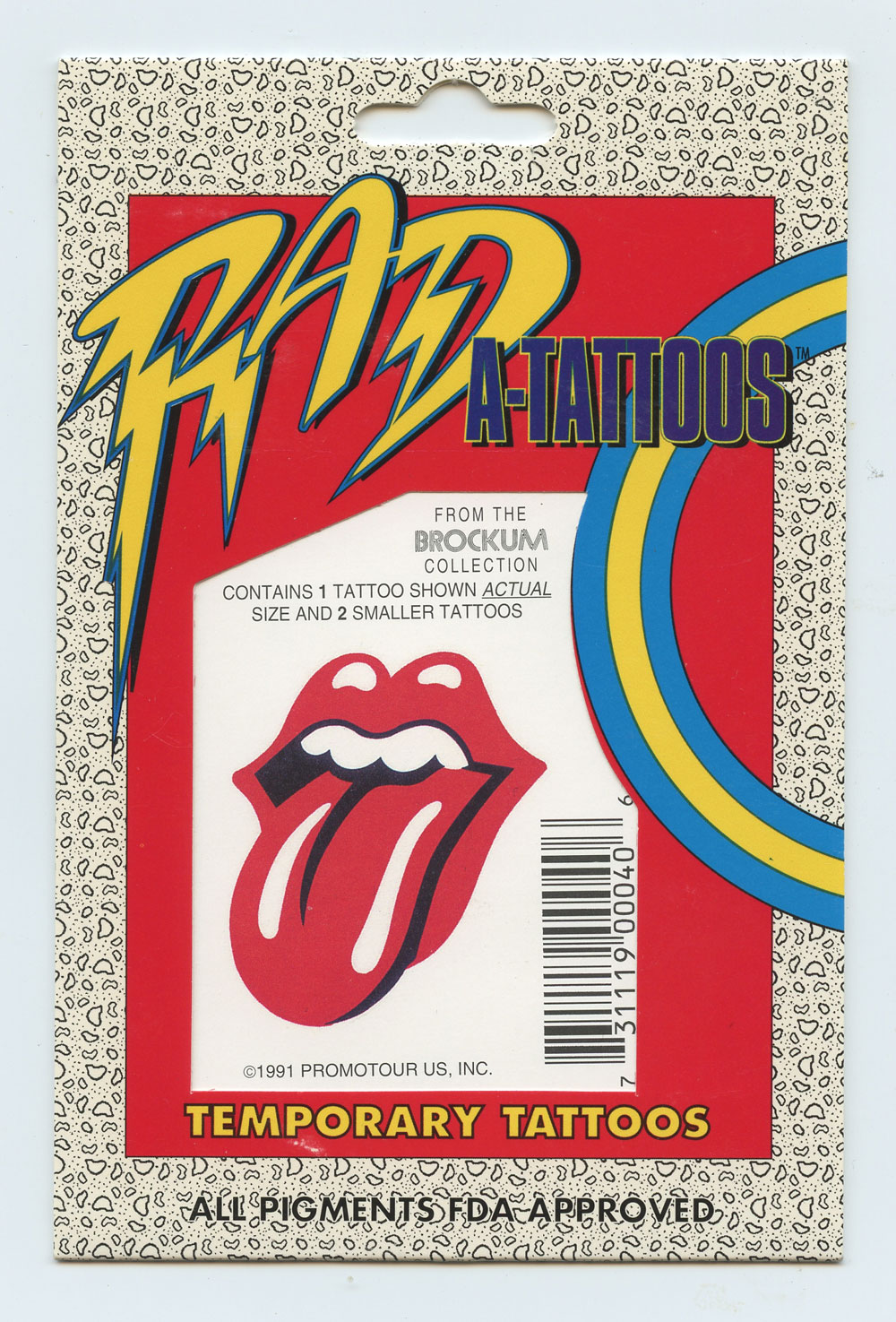 The Rolling Stones Tattoo Temporary Vintage 1991 RAD A-Tattoos